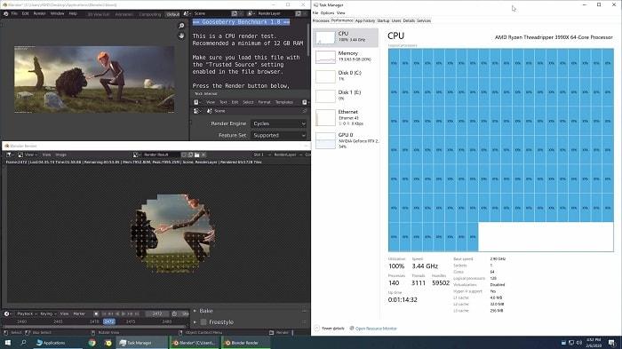 Тестирование кулеров для AMD Threadripper 3990X - бенчмарк