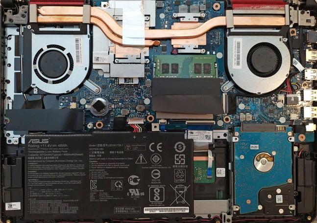 Выбор Asus TUF Gaming FX505DT - внутреннее устройство