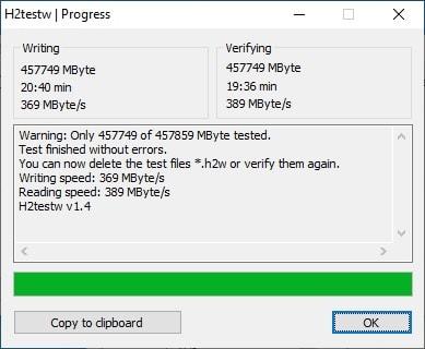 SSD Mengmi 480 ГБ - h2testw