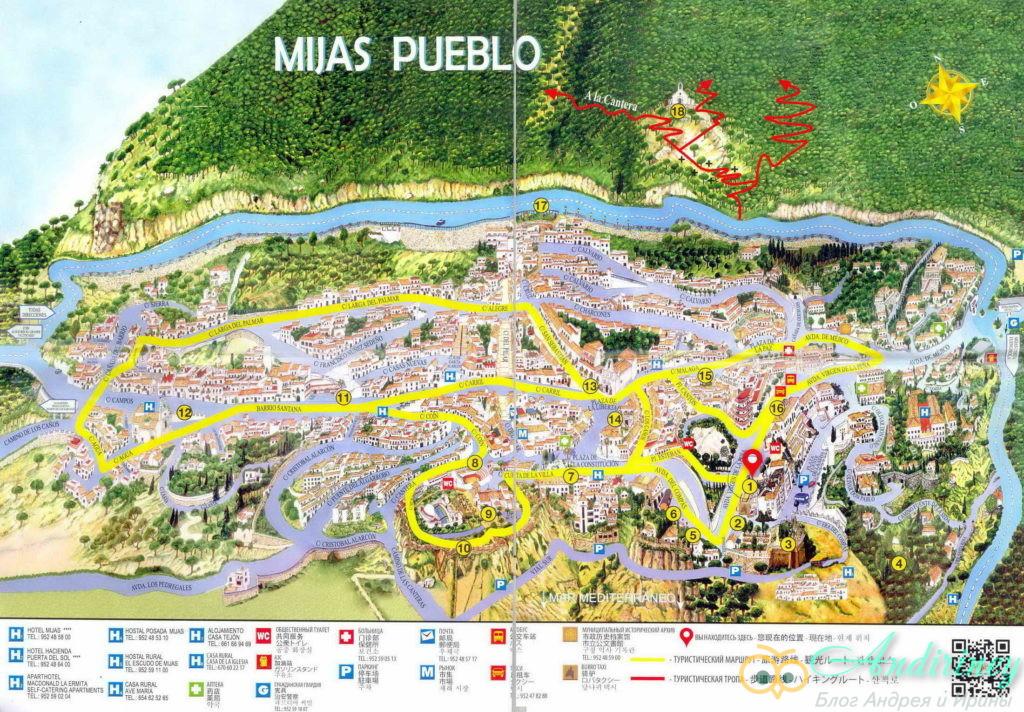 Михас, Испания. Карта города