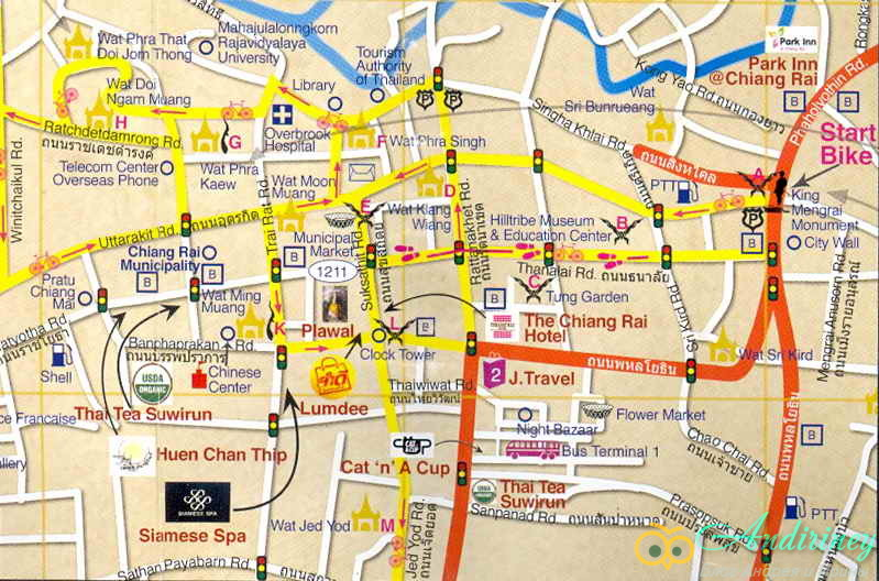 Чианграй. Схема центра города