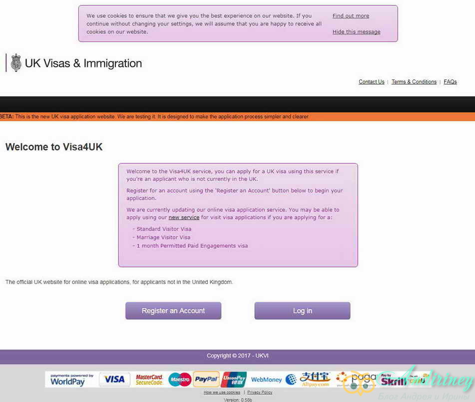 Экран входа в сервис заполнения анкеты
